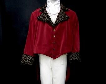 Elegant Vintage Gentlemens Mens Regency Tailcoat Red Velvet Mr Darcy Austen Period Costume Size 60- 62  inch Chest XXXXL