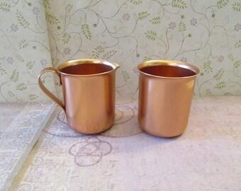 Vintage Color Craft Copper Color Aluminum Cream and Sugar Set