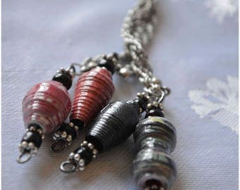 "Handmade Paper Bead ""Cluster"" Necklace - Black and Red"