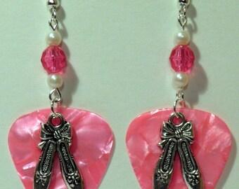 Silver BALLET SHOES Ballerina Dancer Charm Guitar Pick Beaded Earrings - Handmade in USA