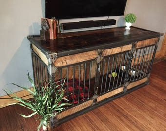 rustic industrial dog kennel dog crate riveted steel dog kennel with reclaimed barn wood