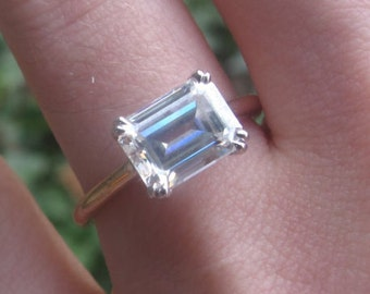 East West Moissanite Engagement Ring, East West Emerald Cut Ring, Horizontal Solitaire Ring