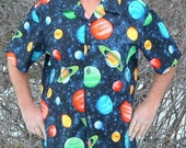 XL Hawaiian Shirt Space Planets Black Colorful Plastic Sparkle Buttons Extra Large