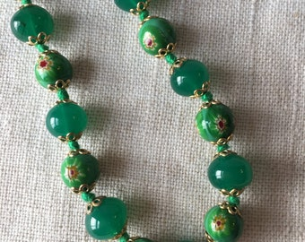 Vintage Green Murano Glass Necklace, Venetian Glass, KC055