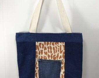 Tote Bag - Upcycled Denim  & Upholstery Fabric- Giraffe