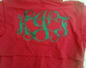 Fishing Shirt - Monogrammed Shirt - Monogrammed Cover Up - Beach Shirt - Summer Shirt - Pool Shirt - Bridesmaid Gift - Cruise Shirt
