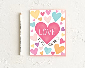 Love Is All You Need, Heart Card, I Love You Card, LGBTQ Card, Pride Card