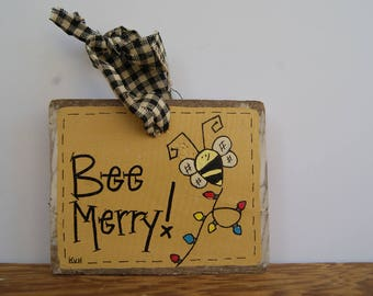 Bumblebee Ornament, Hand Painted Bumblebee Decoration, Bee Merry, Pallet Wood Sign, Wooden Bumblebee Ornament, Wooden Ornaments, Bee Decor