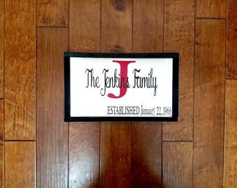 Established Date Sign - Established Family Sign - Last Name Sign - Wedding Gift - Established Date - Est Date Sign - Wedding Date