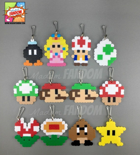 12 Super Mario Party Favors - Zipper Pulls Keychains Clips