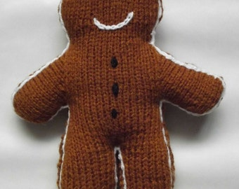Gingerbread Man Ornament - Handknitted Soft Toy/Home Decor/Handmade Childrens Doll/Childrens Book/Gift for a Child/Gift for a Newborn