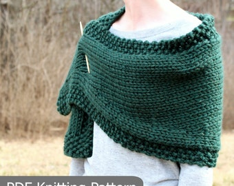 KNITTING PATTERN Shawl / Wrap / A Bit of Good Luck/ Chunky / Easy / Quick / Knit / PDF instant download / Super Bulky Yarn