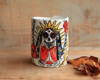 santa muerte mug ceramic, mexican skull cup, Guadalupe Made to order