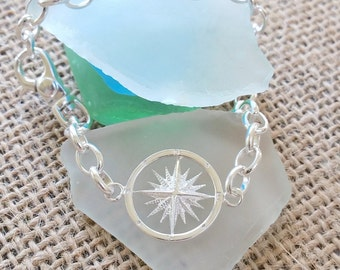 Sailor Compass Bracelet w. Heavy Sailors Link Sterling Silver - Compass jewelry - Nautical Jewelry - Bridal - Beach Wedding