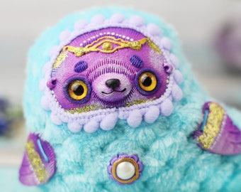 seal toy art plush doll seal art kawaii seal plush kawaii animal toy polymer clay seal sea creature toy miniature