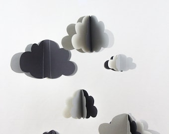 Plain paper mobile clouds + grey - limited EDITION - Garland - birthday decoration Christmas baby gift unisex baby mobile