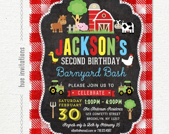 barnyard birthday invitation for boys, farm 2nd birthday party invitation, red plaid barn tractor cow pig, customized digital printable file