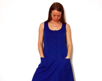 Simple Sleeveless Electric Blue Vintage Dress With Pockets And Round Neck, A-line Everyday Retro Dress