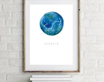 Scorpio Zodiac Print - Watercolour Print, Scorpio Art, Scorpio Poster, Horoscope, Scorpio Gift, Wall Home Decor, Modern, Simple