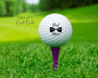 BEST MAN, custom golf balls, gift for best man, Wedding, Best Man gift, Groomsman, groomsmen, golf balls, set of 3, groomsmen gift, wedding
