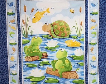 Baby Blanket, Handmade, Quilted,  Gone Fishing,  Frogs, Turtles, Fish
