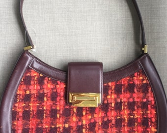 Vintage Adrienne Vittadini red orange wool woven cordovan leather shoulder handbag
