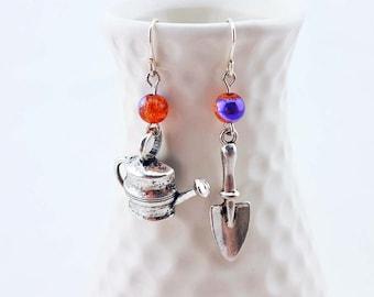 Gardener's earrings - gardening earrings - watering can earrings - trowel earrings - watering can and trowel earrings - mismatched earrings