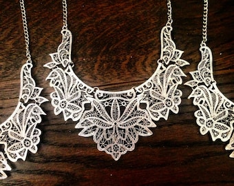 Silver Lotus Floral Collar Necklace