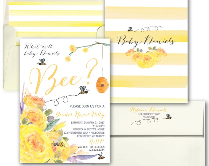 Bee Gender Reveal Invitation // Yellow Gender Reveal Invitation // He or She invitation // Floral // Watercolor BEES // MELBOURNE COLLECTION