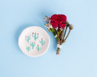 Penelope ring or salt bowl. Cactus patterned porcelain dish handmade homewares