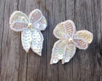Sequined Bow Earrings, Vintage Earrings, Christmas Earrings, Bow Earrings