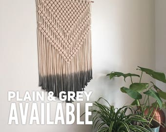 Large Hand Dyed Grey Macrame Cotton Wall Hanging / Ombre Macrame Wall Art