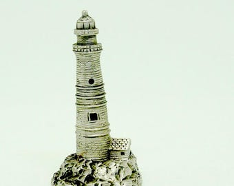 """Pewter; Miniature Lighthouse; Figurine; Approx. 2""""h x 1""""w; 1990 !!!"""