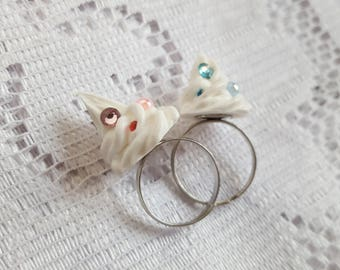 Sparkly Whipped Cream Ring - Adjustable
