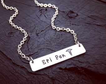 Epi Pen Medical Alert Bar Necklace | Epi Pen Jewelry | Epinephrine Pen | Allergy Necklace | Medical Alert Jewelry | Allergy Diagnosis Gift