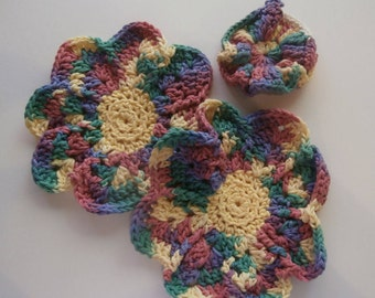 Dish/Wash Cloths - Set of 3 - Rainbow! - 100% Cotton - Hand Crocheted - Flowers - Kitchen Gear - Bathroom - Camping - Yellow - Dishcloth