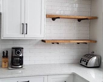 Industrial Wood Pipe Shelf | Industrial pipe shelving | Pipe shelves ...