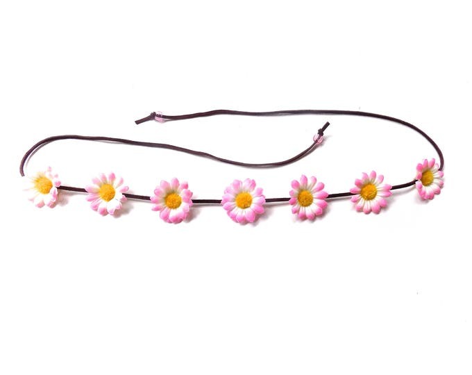 The Sweet Virginia flower headband in light pink, Coachella festival flower crown with light pink daisies, floral hair accessory