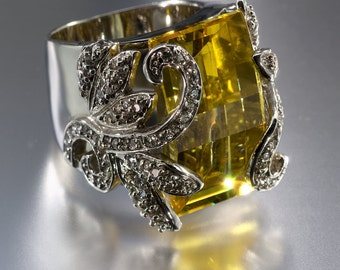 Charles Winston Large Canary Yellow CZ Statement Ring Size 7
