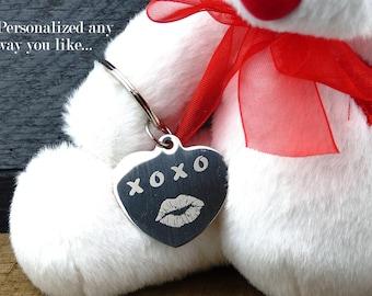 Personalized Heart Key Chain, Heart Key Ring, Engraved Heart Charm, Love Keychain, Engraved, Personalized Girlfriend Gift