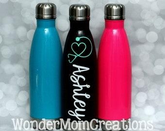 Nurse Vacuum Sealed Water Bottle; Nurse Personalized Water Bottle; Nurse Stethoscope Water Bottle; Personalized Name Nurse Water Bottle
