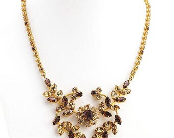 Vintage Rhinestone Necklace Floral With Topaz Crystals