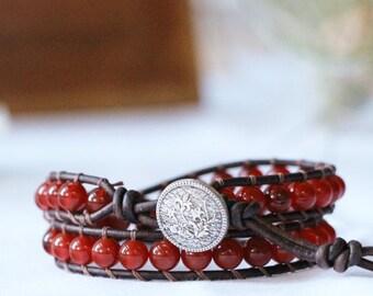 Healing Stone Wrap Bracelet - Carnelian