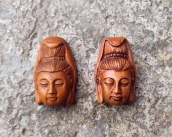 Quan Yin Buddha Bead - Hand Carved Boxwood - 1 1/8 Inch - 30 mm