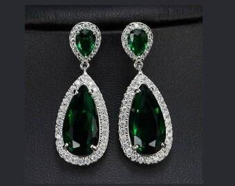 Emerald drop earrings, Swarovski emerald earrings, green drop earrings