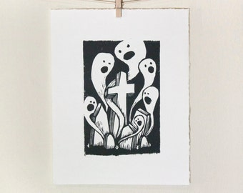 GHOSTS In The GRAVEYARD: Original, Hand Printed, Linoleum Block Print