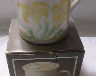 Porcelain Coffee Tea Mug And Coaster White Yellow Floral Covered