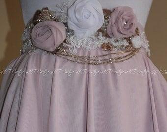 Wedding Chiffon Skirt with Sash, Wedding Separates, Bridal Skirt, Gown Skirt, Layered Bridal Skirt, Mixi Chiffon Skirt, Wedding Skirt