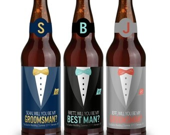 Beer Labels - Will You Be My Groomsman - Will You Be My Best Man - Custom Beer Labels - Tuxedo Beer Labels