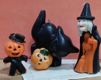 Vintage Halloween Candles Set of 3 Witch, Black Cat, Jack O Latern 2 Gurley 1 Unknown